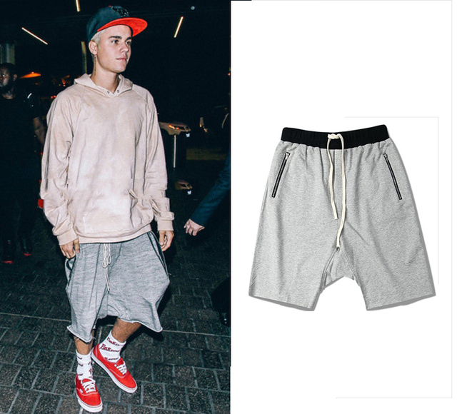 ff3ecc9211ba 2017 Summer Justin Bieber Kanye West Fashion Unedged Dropped Crotch Knee  Length Men Shorts with Zip Pocket Hip Hop Asian Size