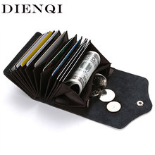 DIENQI Genuine Leather Credit Card Money Clip Mini Male Purses Money Pocket Bag Cash Holder Men Clip Wallet with money clip 2018(China)