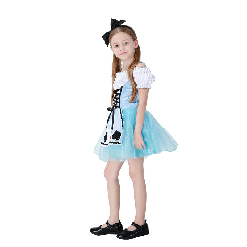 New Design Halloween Women Childs Anime Alice In Wonderland Blue Party Dress Alice Dream Kids Girl Maid Cosplay Costume