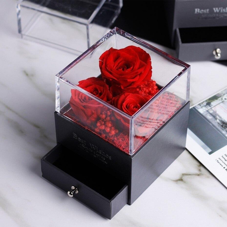 Средняя красота и чудовище Роза, Роза в стеклянном куполе, навсегда Роза, красная роза, консервированная Роза, Белль Роза, особый романтический подарок - Цвет: Красный