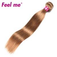 Feel Me Peruvian Straight Hair Bundles Human Hair Weave 1/3 Bundle #27 Blonde Hair Extensions Pre Colored Non remy