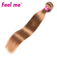 Feel Me Peruvian Straight Hair Bundles Human Hair Weave 1/3 Bundle #27 Blonde Hair Extensions Pre Colored Non remy