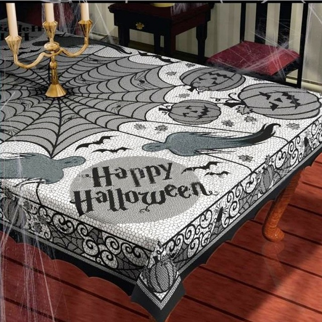 Table Cloth European Black Pumpkin Spiderweb Tablecloth Fabric Party  Halloween Decoration Lace Gothic Costume Decor Rectangular
