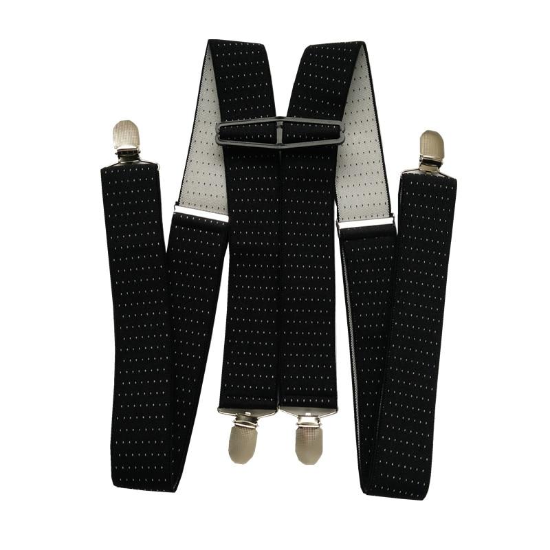 BD066-Clothing Accessories Adult Suspenders 3.5 Width 4 Clips Adjustable Elastic dot print braces X Back for men Women Pants