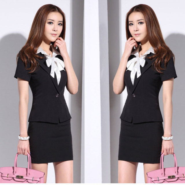 Hot Sale Summer Office Uniform Style Fashion Women Suit With Skirt