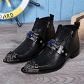 New 2017 Genuine Leather Men Punk Ankle Boots Pointed-toe Boots British Style Fashion Boots Man Dress Wedding Shoes EU Size38-46