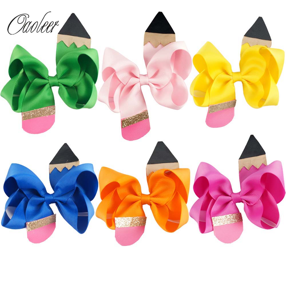 6pcs Handmade 4.5 Pencil Back to School Hair Bow With Clip For Girls Boutique Pencil Hairpin Preschool Graduation Accessories halloween party zombie skull skeleton hand bone claw hairpin punk hair clip for women girl hair accessories headwear 1 pcs
