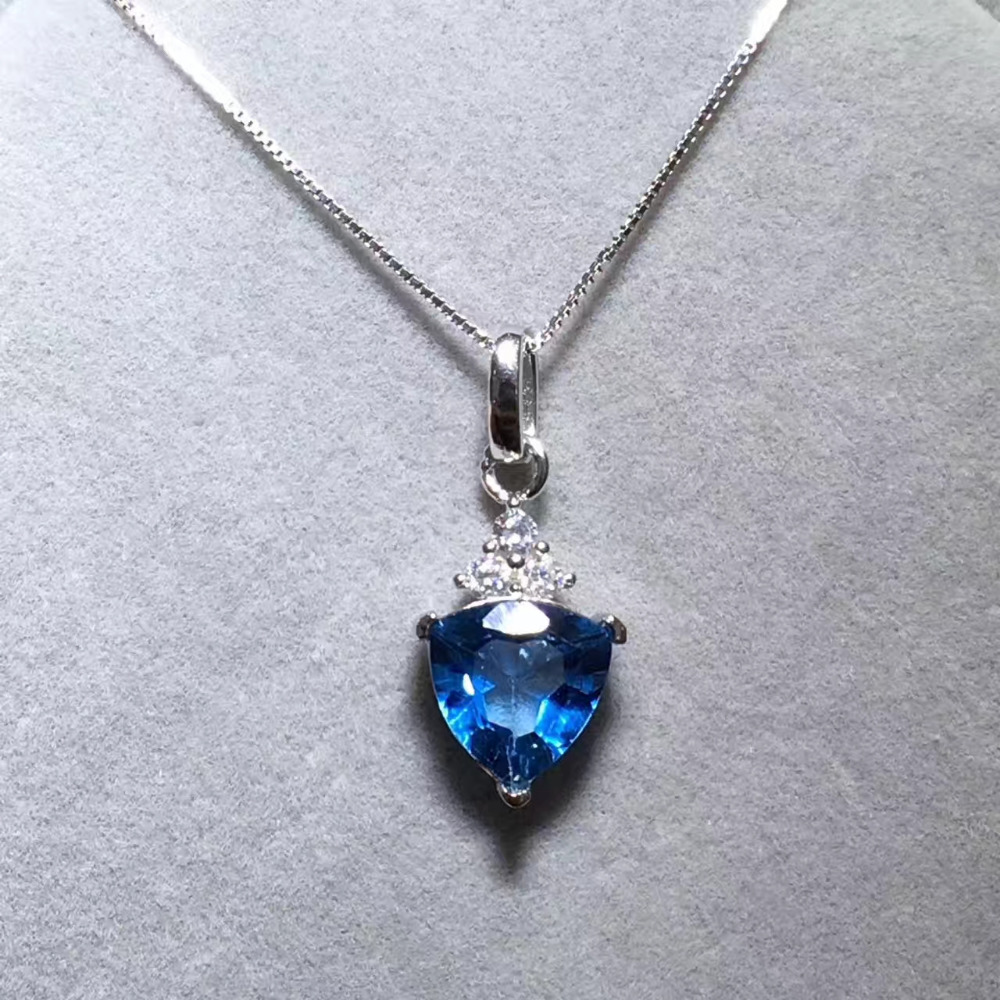 Natural blue topaz stone pendant S925 silver Natural Gemstone Pendant Necklace elegant Exquisite simple triangle women jewelry color agate topaz necklace natural stone crystal fashion women pearl chain party pendant exquisite jewelry flower name necklace