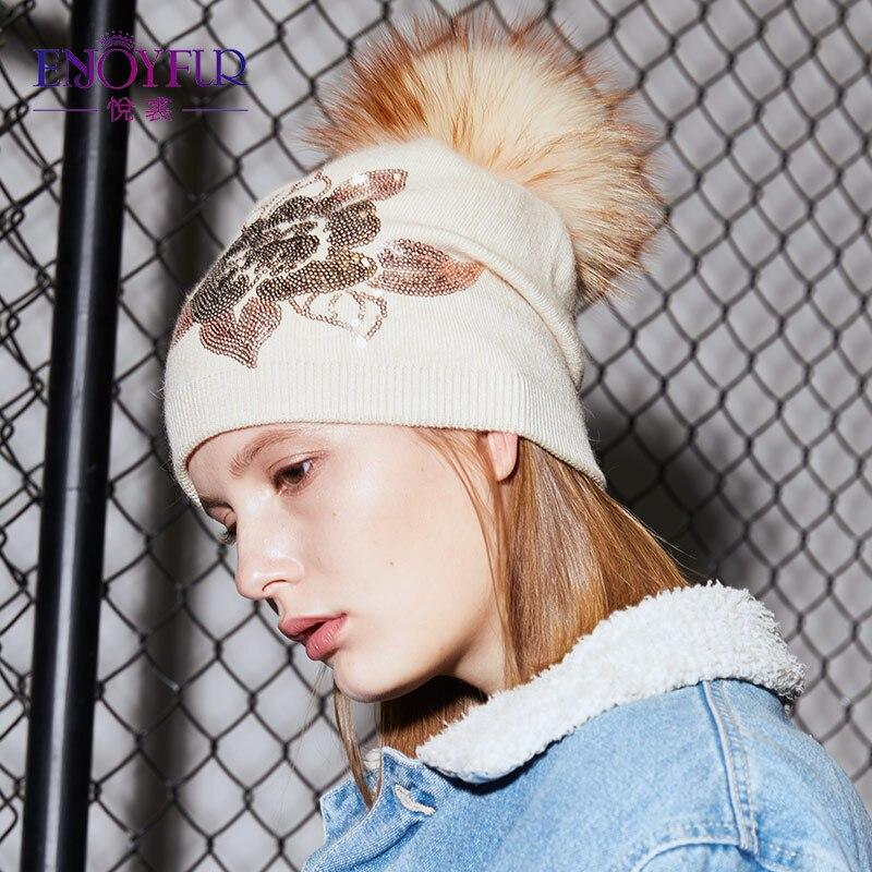 9269ab8f ENJOYFUR Floral Sequins Embroidery Winter Hats Women Raccoon Fur Pom Pom Hat  Female Girl Wool Knitted Beanies Gravity Falls Cap-in Skullies & Beanies  from ...