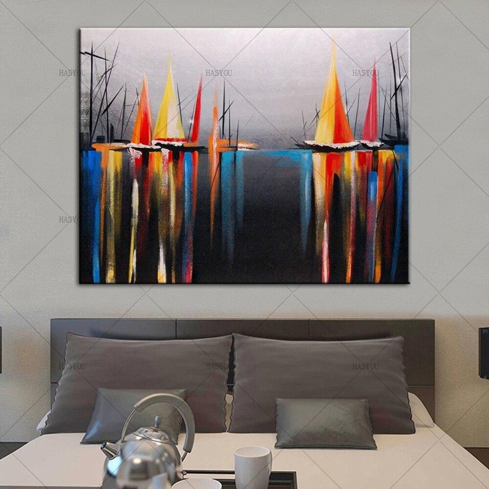 palette de peinture a l huile de bateau amarre au bord de la mer couteau image peinte sur toile pour bureau decor artistique mural de maison