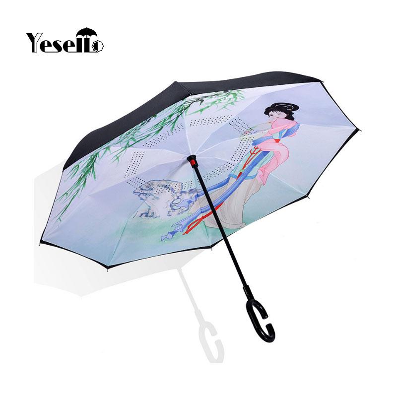 Yesello Windproof Reverse Umbrella Folding Double Layer Inverted Umbrella Self Stand Rain Gear