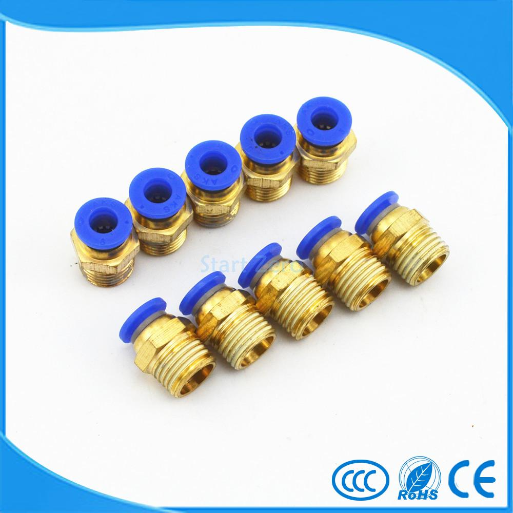 10x 8mm Tube X 1/4'' Male Thread Quick Connector Pneumatic Air Fittings pc8-02 9 pcs 3 8 pt male thread 8mm push in joint pneumatic connector quick fittings