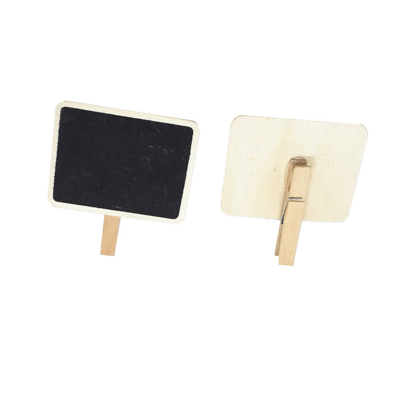Mini Clip On Blackboard For Message Small Wooden Chalkboard Shape Clip For Wedding Party Decor Office Supplies