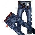 Plus size 44 46 48 calças de brim dos homens de boa qualidade em linha reta estiramento calças de brim dos homens do desenhador dos homens calças jeans, Casual Calças Retas Magros F