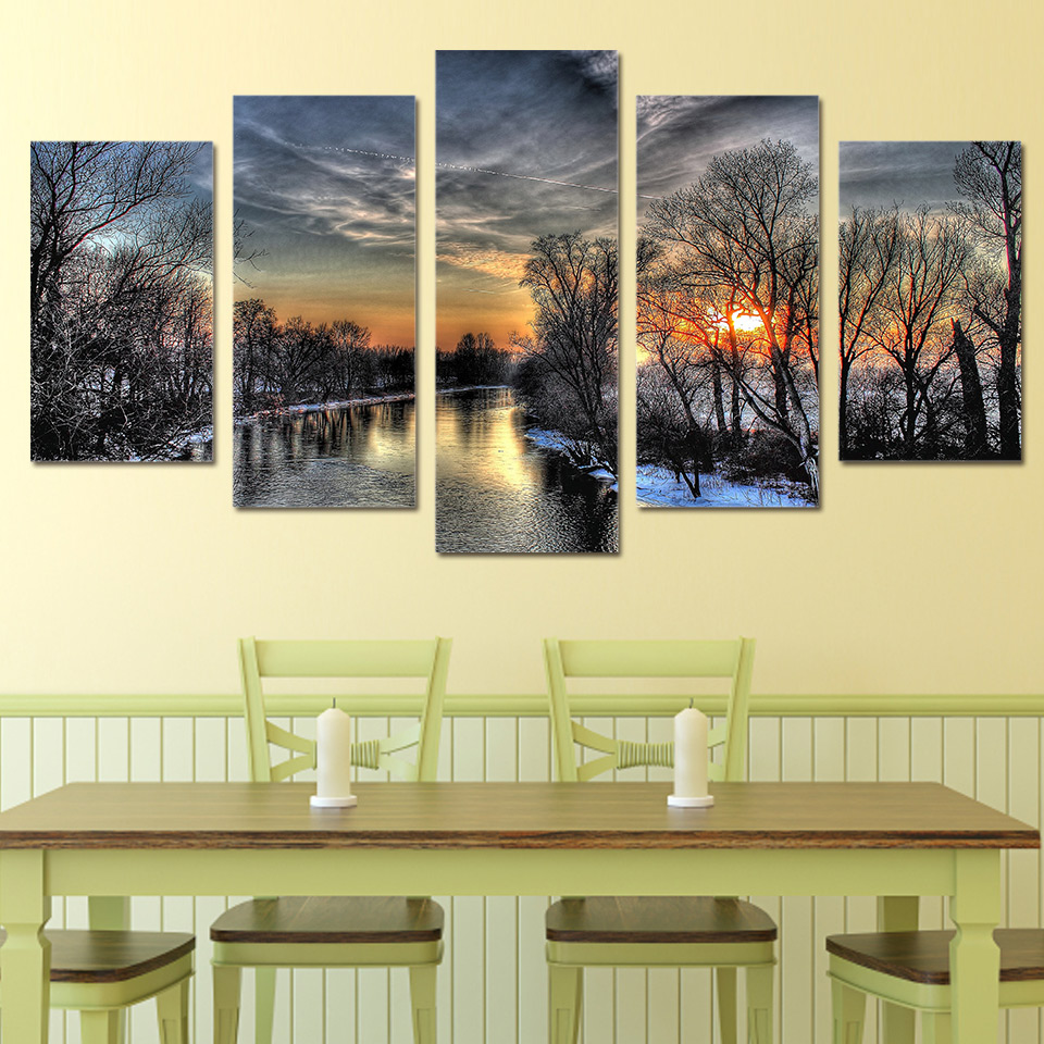 5 Pcs/Set Framed HD Printed Dusk Snow Forest Sunset Painting Picutre ...