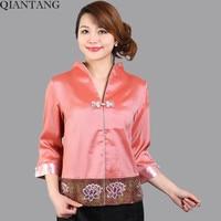 High Quality Summer Blouse Ladies Satin V Neck Shirt Top Classic China Style Clothing Mujer Camisa Size S M L XL XXL XXXL Mns01B