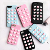 3D Small Love Heart TPU Case For Iphone 7 7Plus Candy Color Soft Silicon Case For
