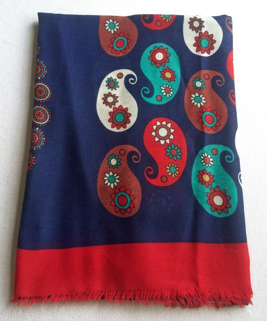 180x100 Brilhante Vermelho de Paisley Scarf Mulheres Shawl Étnico Impresso Sarja de Algodão Wraps Praia Nova Marca