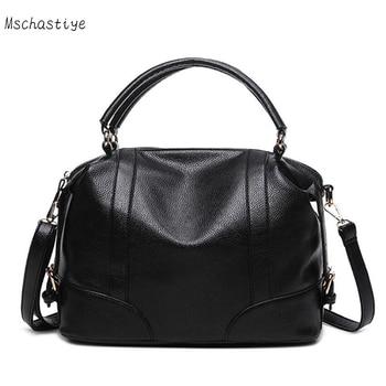 Mschastiye Women messenger bag PU leather solid female handbags Lichee pattern pillow shoulder bag ladies vintage brown bags