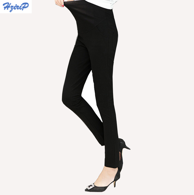 Hrizip Summer Black Casual Maternity Pants for Work Maternity Clothes Pregnancy Pencil Pants Leggings Care abdomen Plus Size