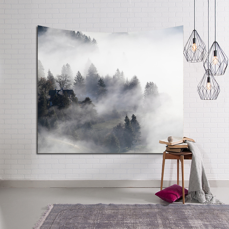 HD painting Mountain forest Wall hanging blanket tapestry beach towel throw home decorative simply printed supersoft tapestries