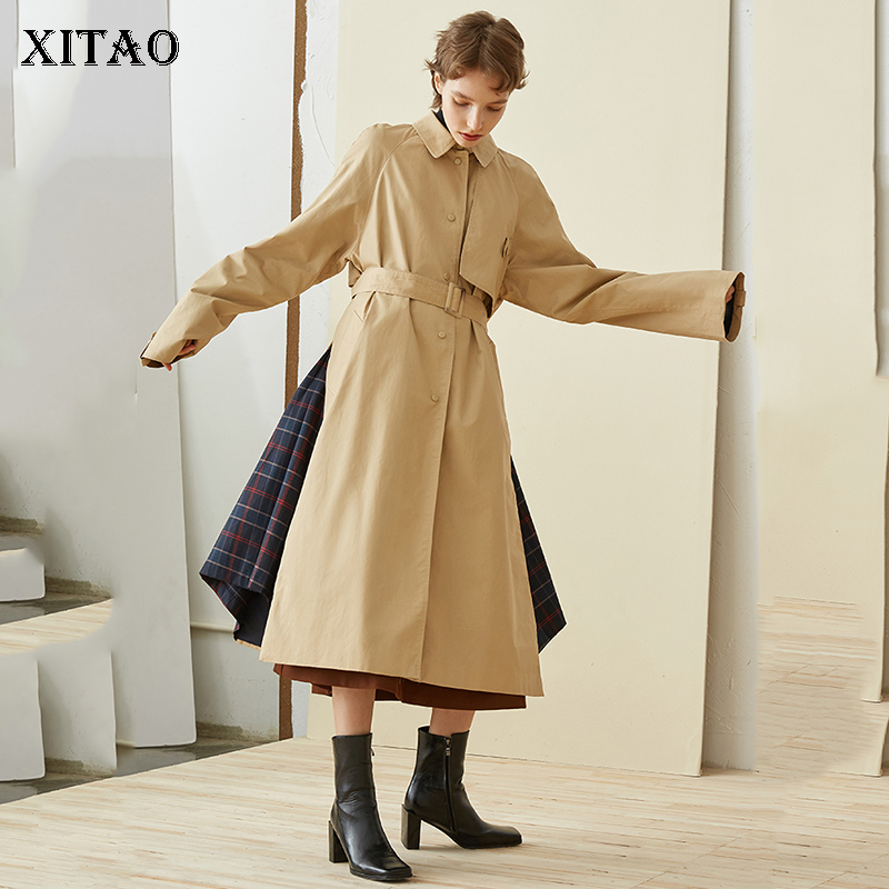 [XITAO] 2018 autumn korea fashion new women turn-down collar full sleeve a-line   trench   female casual patchwork   trench   ZLL1333