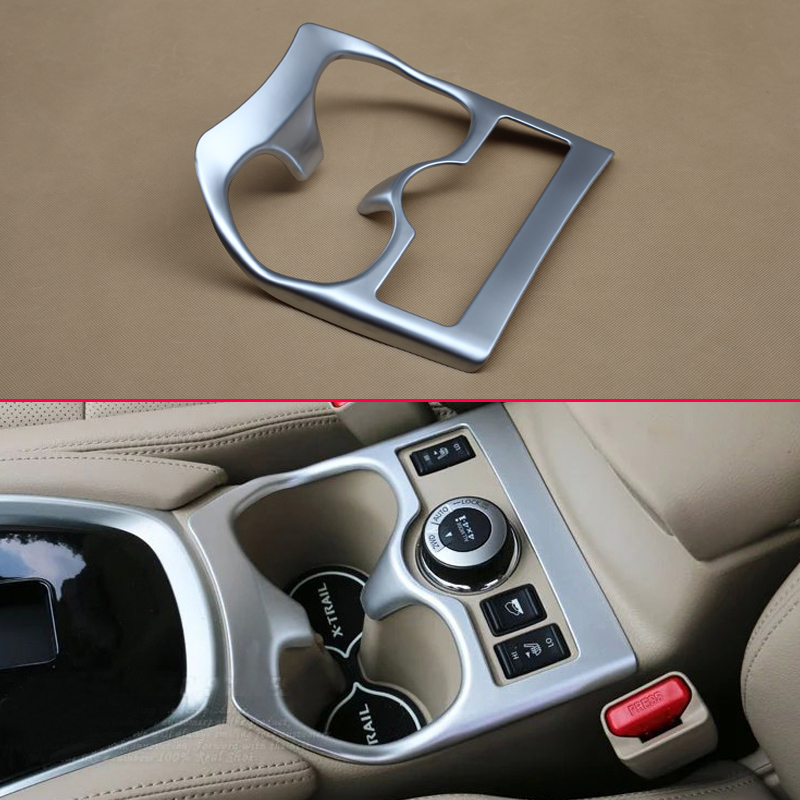 Car Styling Matte Chrome Interior For Nissan X-Trail Rogue Sport T32 4WD Water Cup Holder Trim Cover Molding Accessories Parts