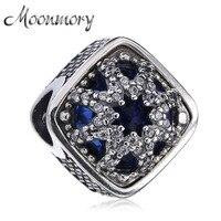 Moonmory Otantik 925 Ayar Gümüş Snowflake Charms Marka Bilezikler veya Bangles için Temizle CZ Fit Diy Takı Işaretleme