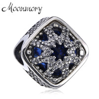 Moonmory Authentic 925 Sterling Silver Snowflake Charms With Clear CZ Fit For Brand Bracelets Or Bangles