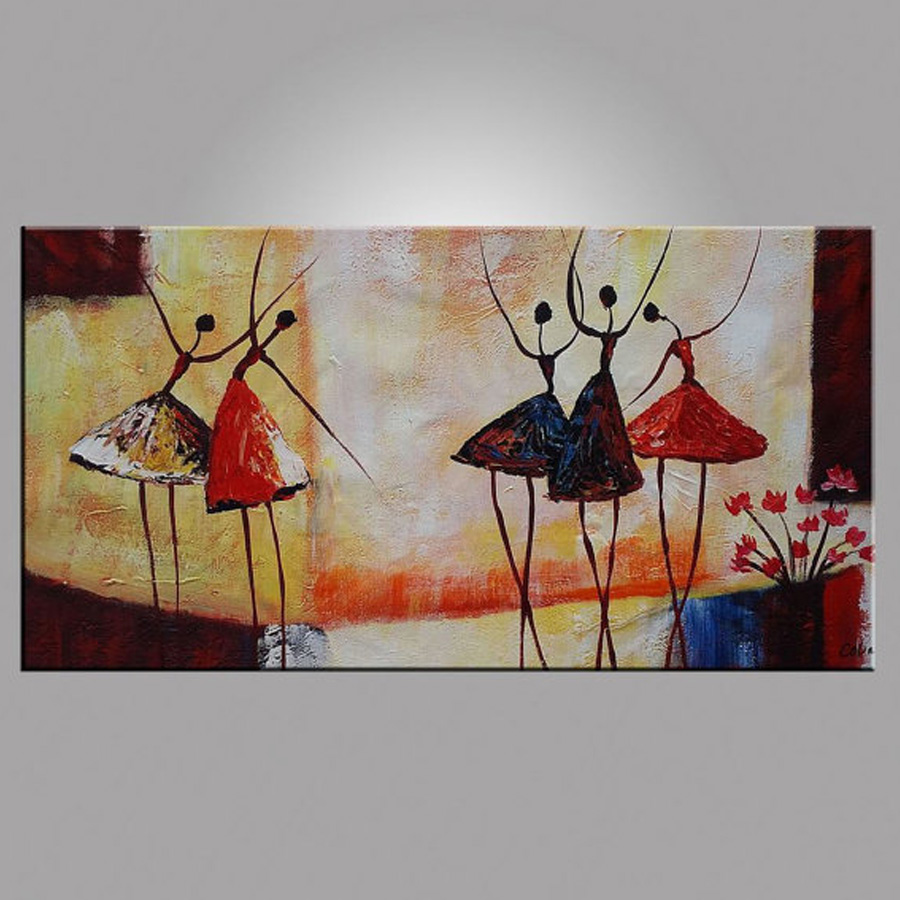 Abstract ballet dancer oil painting on canvas figurative for Oil paintings for the home