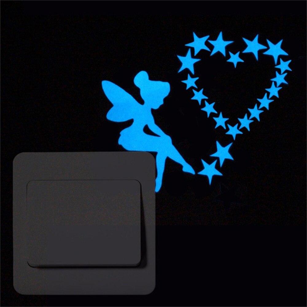 Glow In The Dark Switch Sticker Star Angel Cartoon Cat Luminous Sticker Fluorescent Blue Fairy Sticker Kid Room Home Decoration