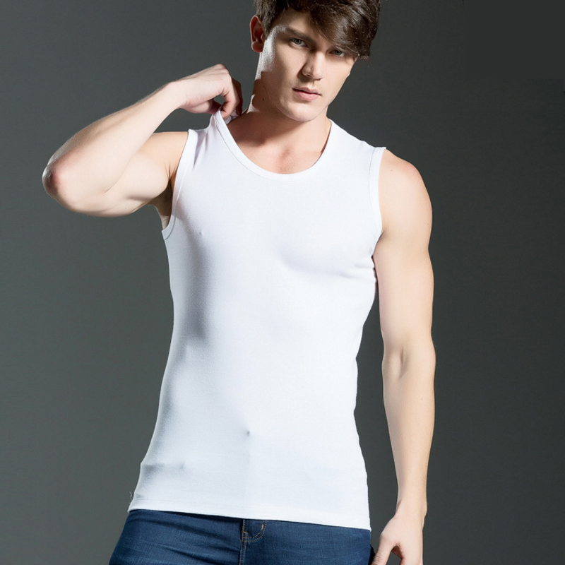 2019 Men's All Cotton Solid Color Seamless Underwear Clothing Close-fitting Broad Shoulders V/O-neck Vest Comfortable Undershirt