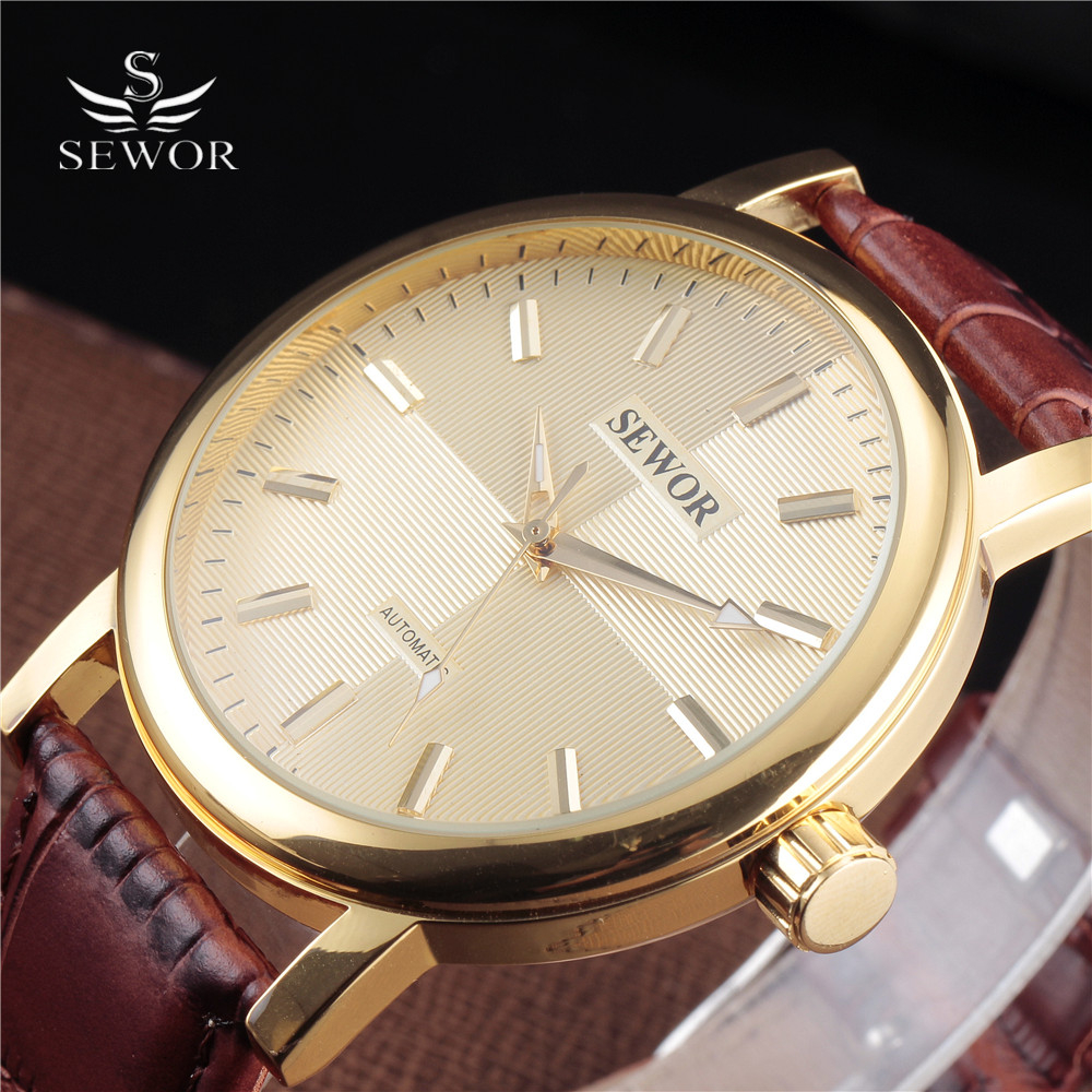 2016 SEWOR Brand Large Dial Skeleton Men Male Military Army Clock Classic Luxury Gold Mechanical Hand Wind Wrist Watch Gift коляска трость для кукол mary poppins фантазия голуб 41 28 56 см 67319