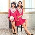 Семья взгляд девочка и матери-дочери платья moomy и я одежда женщины винтажный vestidos мама и дочь платье