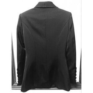 Image 4 - Yüksek kalite yeni moda 2020 tasarımcı Blazer kadın uzun kollu kruvaze Metal düğmeler uzun Blazer dış ceket