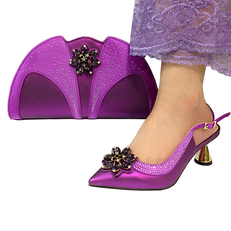 Purple color Fashion Italian Shoes With Matching Clutch Bag Hot African Big Wedding With High Heel