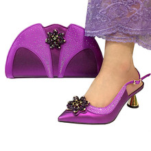Paarse kleur Mode Italiaanse Schoenen Met Bijpassende Clutch Bag Hot Afrikaanse Grote Bruiloft Met Hoge Hak Sandalen en Tas Set