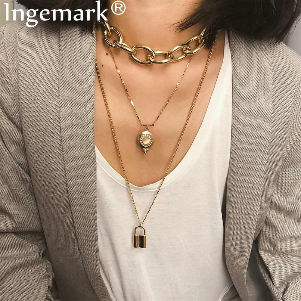 Ingemark панк, кулон замок для влюбленных, ожерелье, винтажная Золотая толстая цепочка, ожерелье, колье, подарок на день Святого Валентина 2019