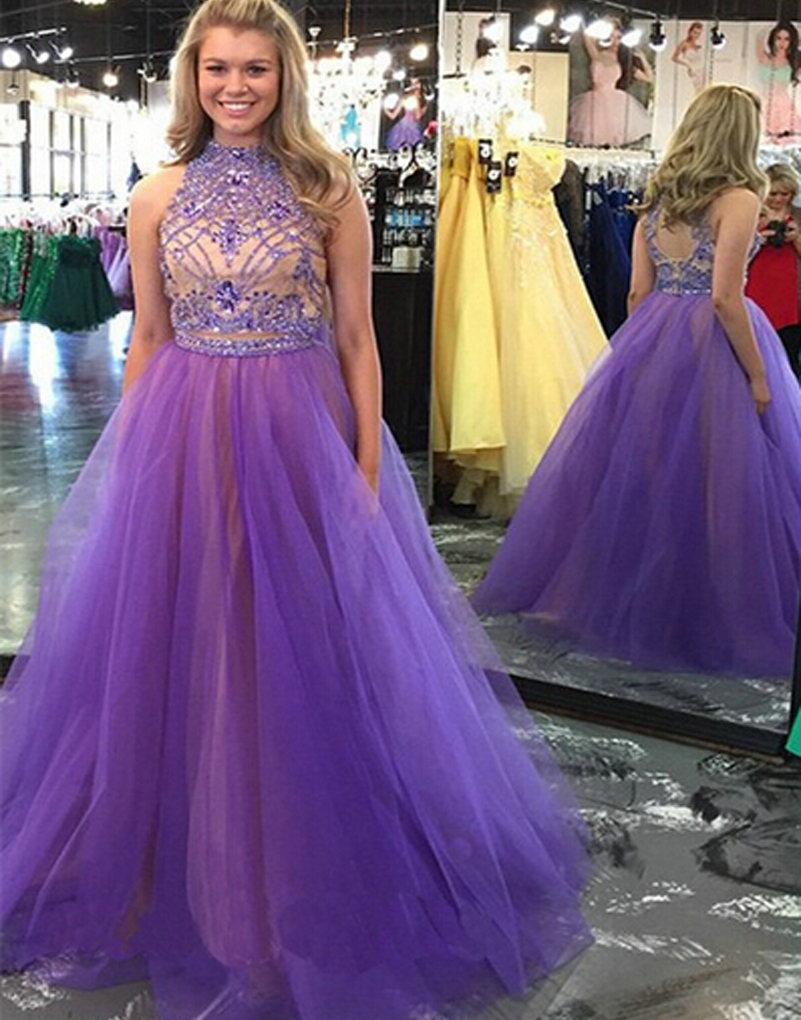 2019 year look- Purple long sparkly prom dress