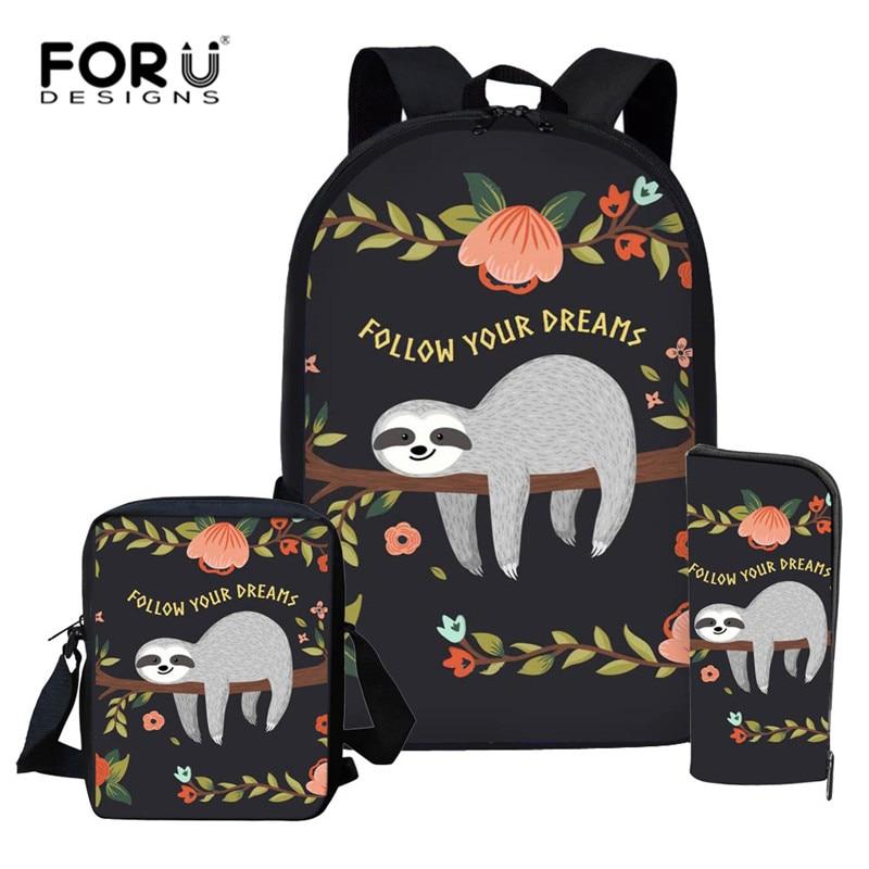 FORUDESIGNS 2019 Cute Sloth School Backpacks Women Fashion Students School Bags For Teenage Girls Kid Backpacks Travel Mochila
