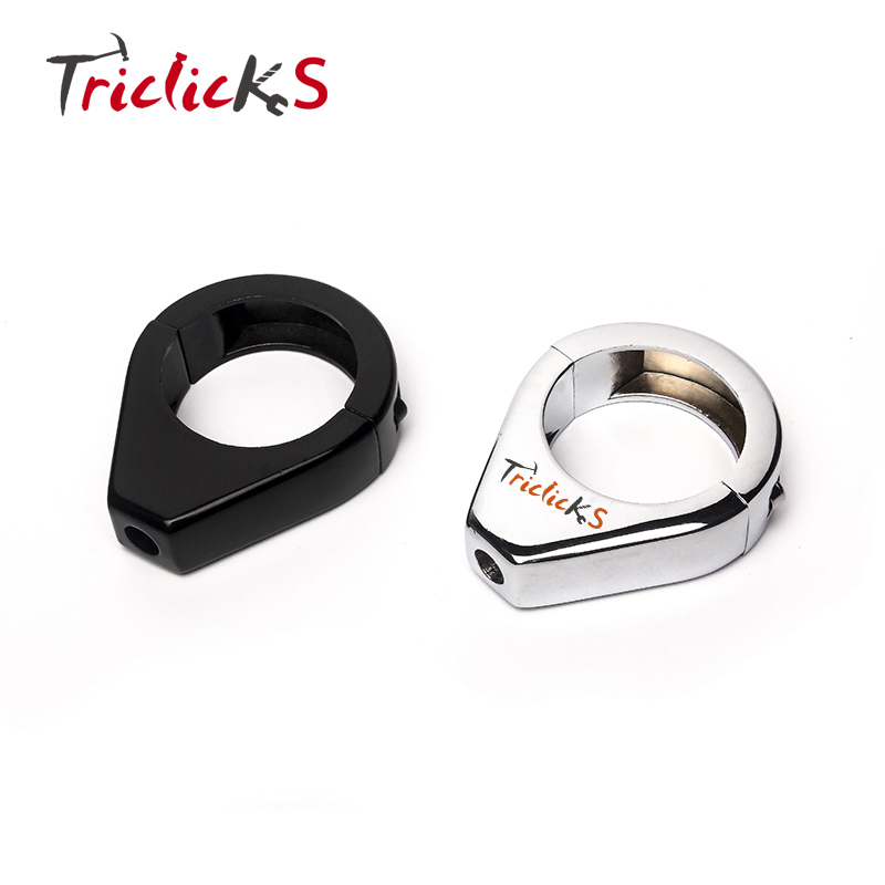 Triclicks Black Chrome 41MM CNC Aluminum Motorcycle Turn Signal Mount Bracket Fork Relocation Clamps For Harley Softail Fatboy