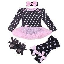 Vêtements pour bébés Ensembles Pour Nouveau-Né Bébé Fille Rose Polka Dot Barboteuse Tutu Robe + Bandeau + Chaussures + Legging Bebe 1er Anniversaire Bébé Fille
