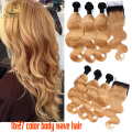 8A Grade Body Wave 3/2 Bundles Honey Blonde Brazilian Hair Weave With Lace Closure Color #27 Blonde Virgin Hair Extensions