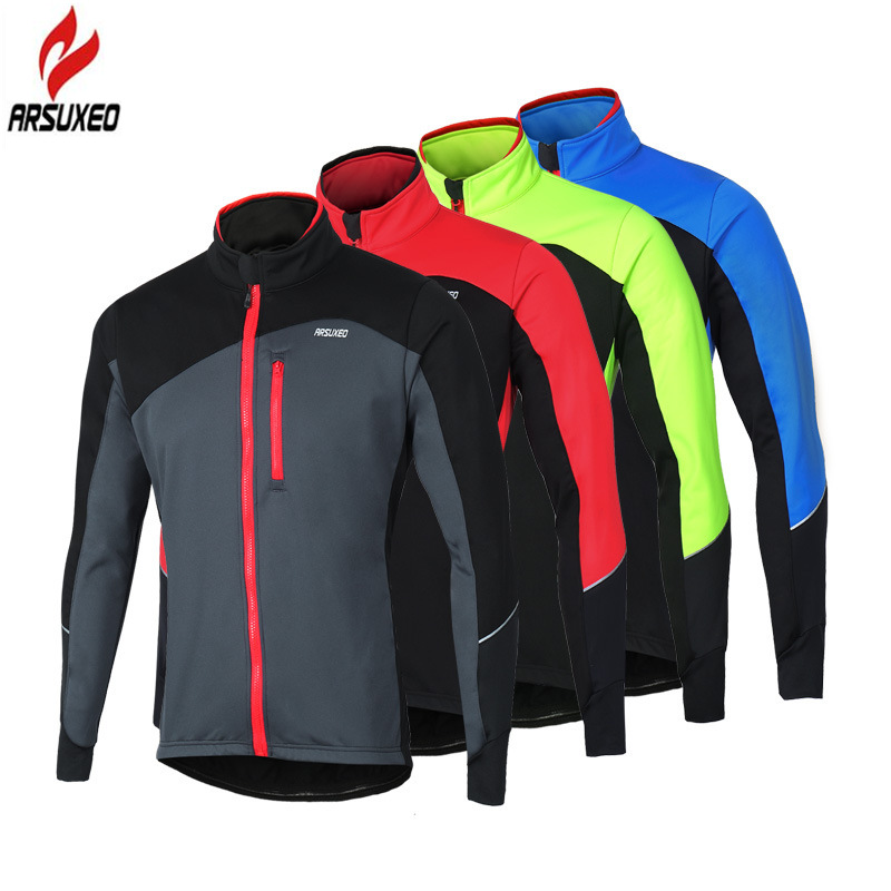 ARSUXEO Winter Thermal Fleece Windbreak Waterproof Reflective Cycling Jacket MTB Bike Windproof Cycling Clothing Bicycle Coat