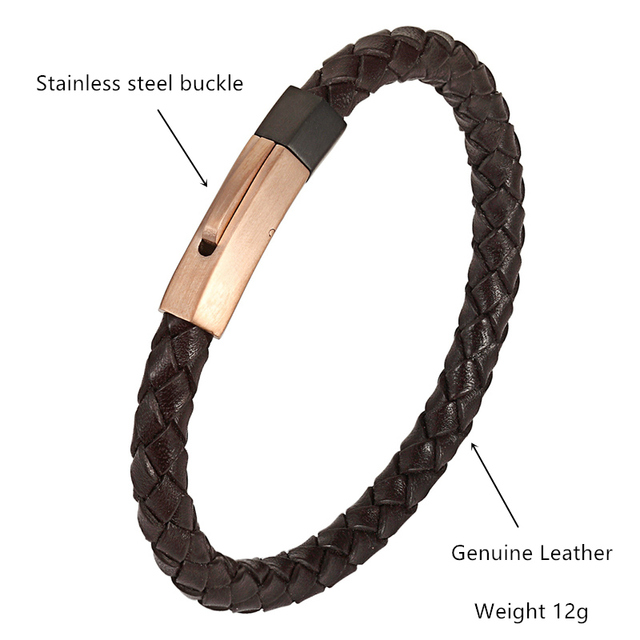 Фото мужской плетеный браслет из натуральной кожи нержавеющей стали