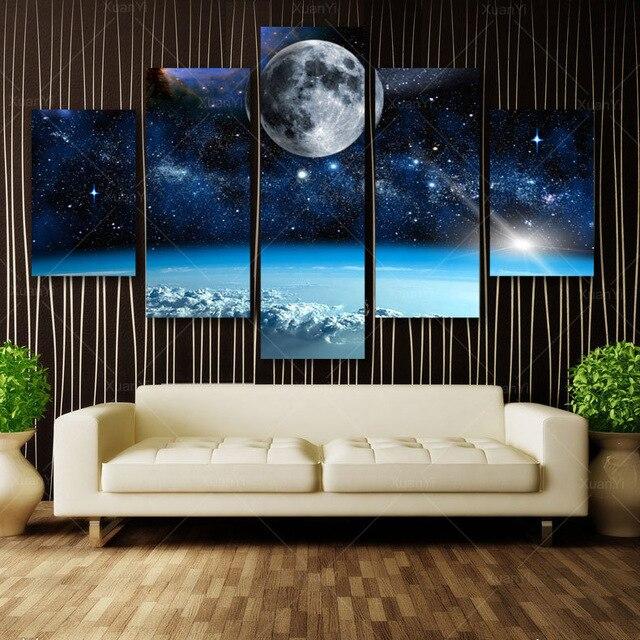5 Панель Современные печатные пространство вселенной пейзажи Холст Аватар земли для гостиной Картина модульная картина без рамы