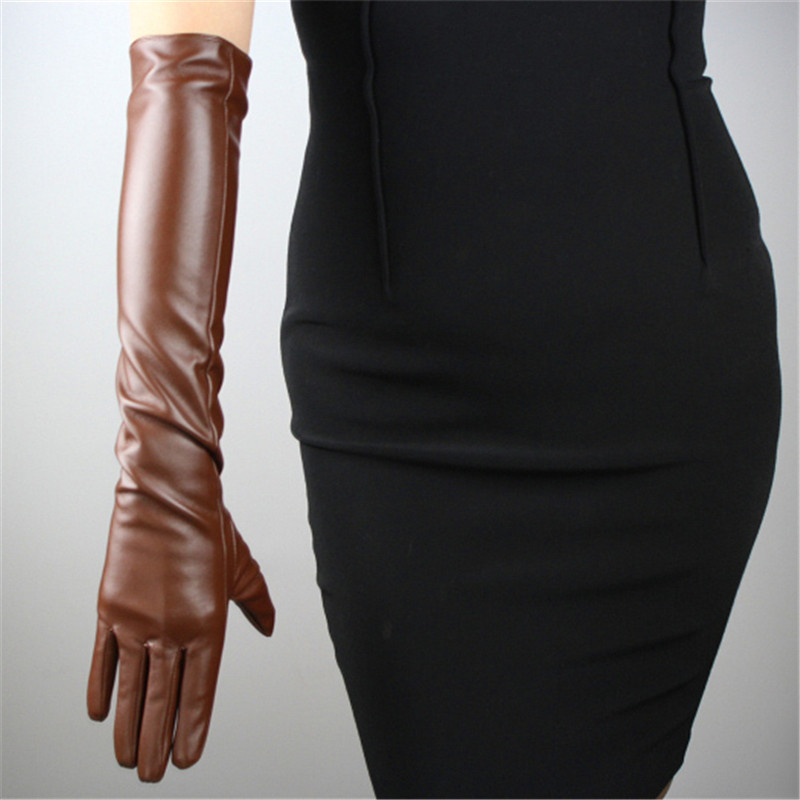 Women PU Gloves Emulation Real Leather 50cm Long Fashion Brown Nylon Lined Classic Retro PU Leather Gloves Female Cosplay P17 in Women 39 s Gloves from Apparel Accessories