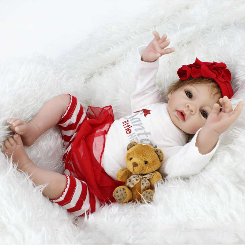 1c15a749e8ae2 55cm Realistic Supernatural Doll With Beautiful Dress Children's Wear Model  Toy Reborn Baby Doll Lifelike Alive Girl Doll