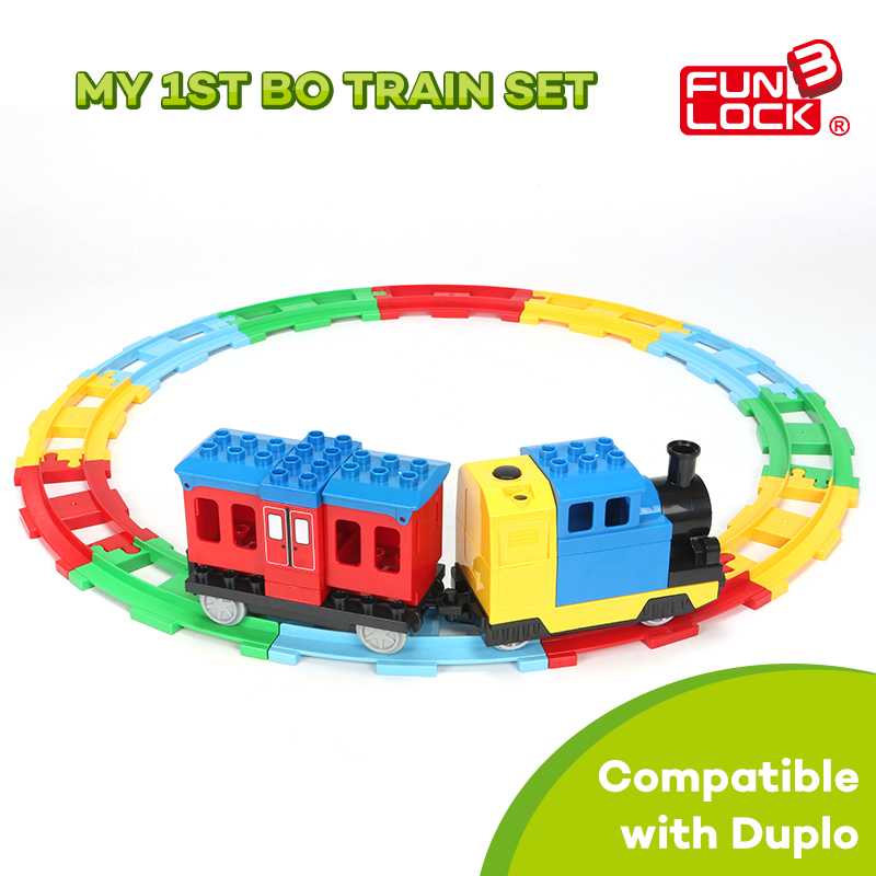 Funlock Duplo Building Blocks Toys Railway Train Set for Kids Battery Operated Train with Round Track Assembly Gift For Children