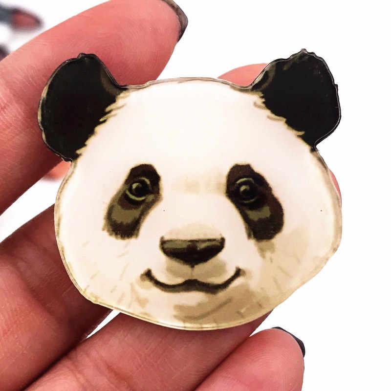 Baru 1 Pcs Indah Panda Lencana Akrilik Bros Ikon Beruang Lencana Pin Aksesoris Pakaian Wanita Anak Hadiah